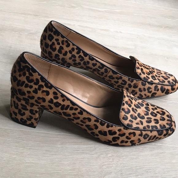 animal print low heel shoes